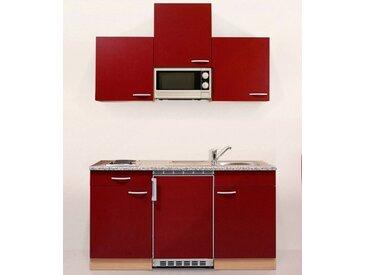 RESPEKTA Küchenzeile, mit E-Geräten, Gesamtbreite 150 cm, rot, rot/buchefarben
