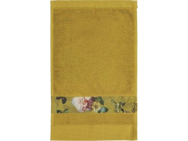 Essenza Gästehandtuch »Fleur« (3-St), Bordüre im wunderschönen Blumenprint, gelb, Kordel, gelb