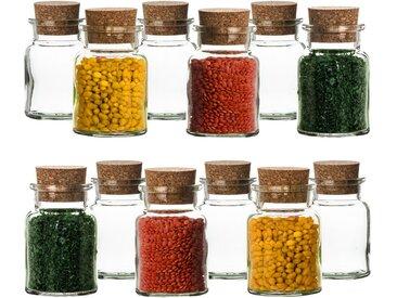 BigDean Gewürzbehälter »12er Set Gewürzgläser mit Korken−Deckel 150 ml rund − Gewürzdosen aus Glas Vorratsgläser«, Glas / Kork, (12-tlg)