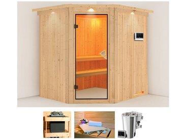 Karibu KARIBU Sauna »Holli«, 210x184x202 cm, 3,6 kW Plug & Play Bio-Ofen mit ext. Strg., natur, 3,6 kW Plug & Play Bio-Kombiofen, natur