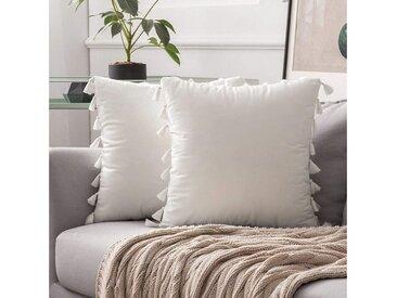 TOPMELON Kissenbezug »Samt«, (2 Stück), mit Reißverschluss, Quaste Design, 45 x 45cm, weiß, Weiß