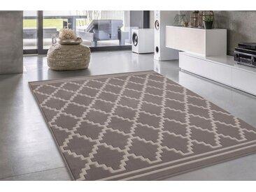 calo-deluxe Teppich »Aloisy 800«, rechteckig, Höhe 10 mm, Kurzflor, Konturenschnitt, braun, taupe-elfenbeinfarben