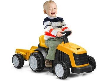 COSTWAY Kinder-Montagetraktor »6V Kinder Traktor Elektro Traktor Kinder Aufsitztraktor«, mit abnehmbarem Anhänger, 2,5-3 km/h, 2-Gang mit Vorwärts-/Rückwärtsschalter, geeignet für Kinder ab 2 Jahren