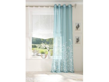 my home Gardine »Yalinga«, Ösen (1 Stück), Vorhang, Fertiggardine, transparent, blau, aquablau-weiß