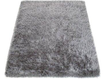 Paco Home Hochflor-Teppich »Glamour 300«, rechteckig, Höhe 70 mm, Shaggy mit weichem Glanz Garn in Uni, grau, grau