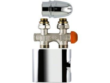 """Schulte SCHULTE Thermostat »Mittenanschlussgarnitur«, Set """"Durchgang"""", für Anschlussrohre aus dem Boden, silberfarben, 8.5 cm, chromfarben"""