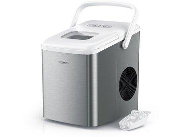 Arendo Eiswürfelmaschine 120 W mit 1,5 L Behälter »Eiswürfelbereiter - 9 Eiswürfel in 9 Minuten«, silberfarben, silber/weiß