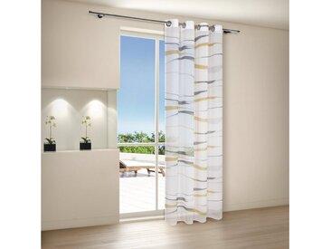 Gerster Vorhang »CARLOTTA Ösenschal bedruckt, Streifen halbtransparent 140/245«, bedruckt, Streifen, natur-gelb-grau