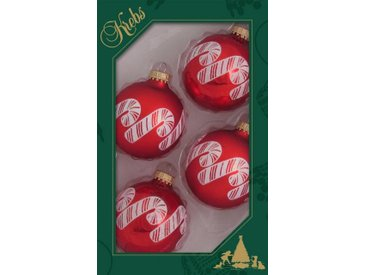 Krebs Glas Lauscha Weihnachtsbaumkugel »Zuckerstangen« (4 Stück)