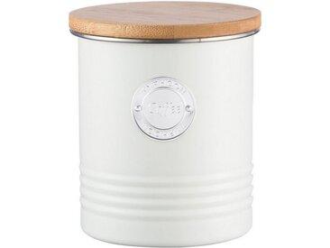 Typhoon Aufbewahrungsdose, stillvolles Design, aus Karbonstahl, mit Bambusdeckel, weiß, Kaffee, pastellcreme