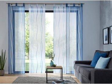 my home Schiebegardine »Dimona«, Schlaufen (2 Stück), Fertiggardine, inkl. Beschwerungsstange, transparent, blau, blau-weiß