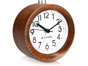 Navaris Reisewecker Analog Holz Wecker mit Snooze - Retro Uhr rund mit Ziffernblatt Alarm - Leise Tischuhr ohne Ticken - Naturholz