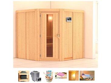KONIFERA Sauna »Oliv 3«, 196x196x198 cm, 9 kW Bio-Ofen mit ext. Strg., Energiespartür, natur, 9 kW Bio-Kombiofen mit externer Steuerung, natur
