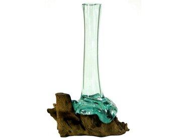 Guru-Shop Dekovase »Vase aus Recycelingglas, Glasvase Wurzelholz -..«, M10