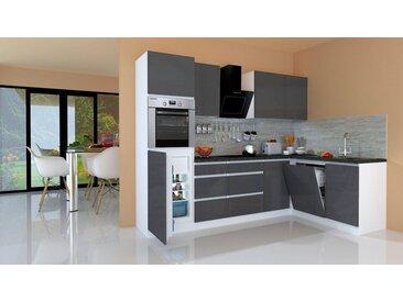 RESPEKTA Winkelküche »Usedom«, mit E-Geräten, mit Soft-Close Funktion, Breite 280 x 172 cm, grau, grau