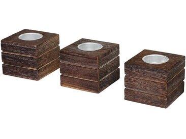 MCW Teelichthalter »T601« (Set, 3er-Set), braun, braun