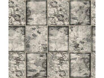 living walls Schaumtapete »Il Decoro«, Fliesen-Optik, silberfarben, schwarz-weiß