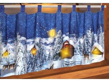 Delindo Lifestyle Scheibengardine »Weihnachtsdorf«, Schlaufen (1 Stück), mit Schlaufenaufhängung, für die Küche, mit LED-Beleuchtung