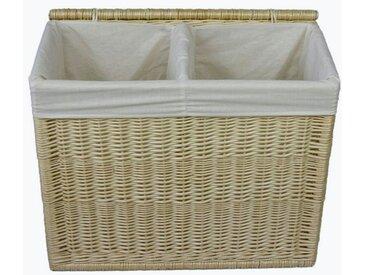 animal-design Wäschekorb, Wäschesortierer - 120L aus Weide Wäschekorb mit Deckel und waschbarem Stoffeinsatz, 2 Wäschekammern