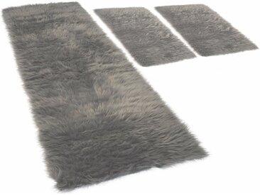 KiNZLER Hochflor-Bettumrandung »Pireo« , höhe 70 mm, (3-tlg), synthetischer Flokati, grau, anthrazit