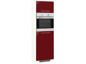 wiho Küchen Backofenumbauschrank »Flexi2«, rot, rot Glanz/weiß