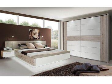 expendio Schlafzimmer-Set »Rubio 20V«, (Spar-Set, 2-tlg), Sandeiche / weiß Hochglanz 180x200 cm mit LED-Beleuchtung und aufklappbarer Fußbank, mit Leseleuchten