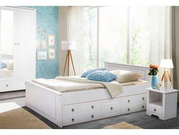 Home affaire Schlafzimmer-Set »Hugo«, (Set, 3-tlg), Bett 140cm, 2-trg Kleiderschrank und 1 Nachttisch, weiß, weiß