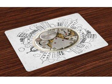 Abakuhaus Platzset, »Waschbare Stoff Esszimmer Küche Tischdekorations Digitaldruck«, (4-teilig, 4 Teilig-St., Set aus 4x), Modern Wecker mit Wolken