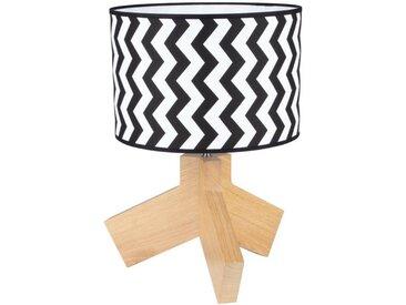 SPOT Light Tischleuchte »Zebra«, Dekorativer Leuchtenfuß aus edlem Eichenholz, hochwertiger Textilschirm, mit Schnurschalter An/Aus