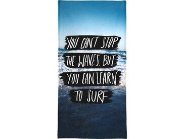 Juniqe Strandtuch »Learn to Surf« (1-St), Weiche Frottee-Veloursqualität