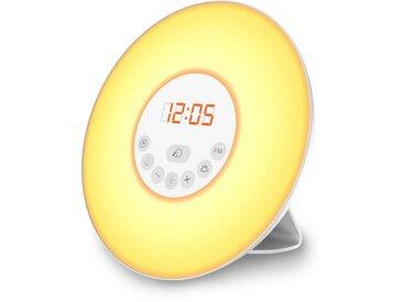 B.K.Licht LED Nachttischlampe, LED Lichtwecker Wake up Light Radiowecker Sonnenaufgangfunktion Kinderwecker