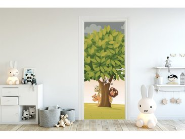 Bilderdepot24 Deco-Panel, Türaufkleber - Kinderbild Baum mit Tieren