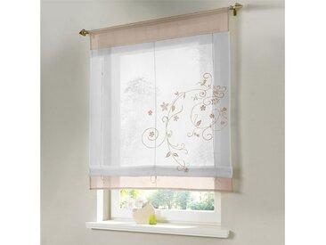i@home Raffrollo »Bestickt Raffgardine Vorhang Gardine Fenstervorhang Scheibengardinen«, mit Schlaufen, Sandfarben