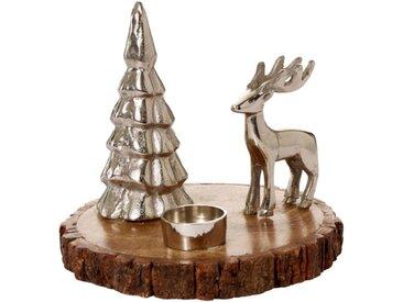 Teelichthalter »Kleine Winterlandschaft«, aus Aluminium und Holz