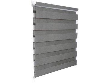 Woltu Doppelrollo, Duo Rollo ohne Bohren mit Klemmfix für Fenster, Holzlook grau