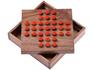 Logoplay Holzspiele Spiel, Solitär Gr. L - Solitaire - Steckspiel - Denkspiel - Knobelspiel - Geduldspiel - Logikspiel aus Holz - rote Stecker