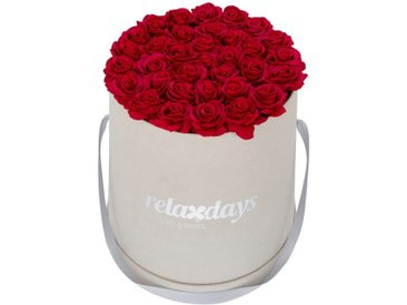 relaxdays Kunstblume »Graue Rosenbox rund 34 Rosen«, Höhe 33 cm, rot, Rot