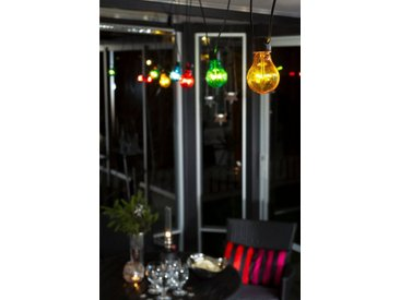 KONSTSMIDE LED Biergartenketten System Erweiterung Lichterkette, schwarz, 10 LEDs, Lichtquelle bunt, Schwarz