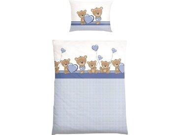 Babybettwäsche »Kuschelino«, mit niedlichem Bärchen-Druck, blau, blau