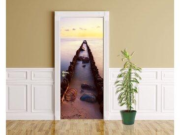 Bilderdepot24 Deco-Panel, Türaufkleber - Sonnenuntergang über der Nordsee