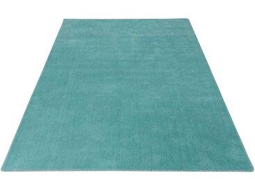 My HOME Wollteppich »Jescha«, rechteckig, Höhe 13 mm, reine Wolle, weiche Haptik, Wohnzimmer, blau