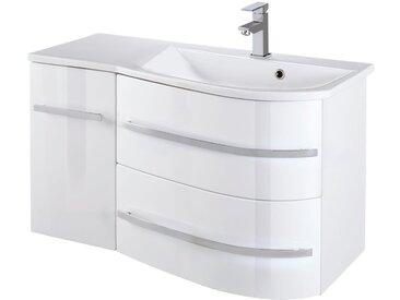 welltime Waschtisch »OSLO«, Breite 90 cm, Badmöbel mit geschwungener Front, Ablage links, weiß, weiß