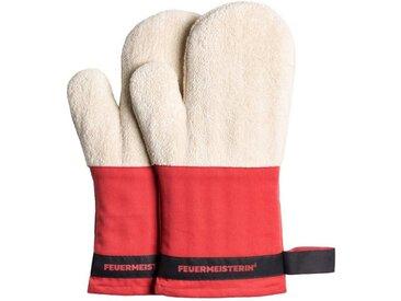 Feuermeisterin Topfhandschuhe »Premium Textil Back- und Kochhandschuhe rote Stulpe/schwarzes Band, Paar«
