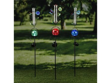 MARELIDA LED Dekoobjekt »LED Solarstecker SCHMETTERLING Regenmesser H: 93cm blaue Kugel Gartenstecker«