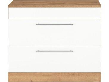 HELD MÖBEL Unterschrank »Wien« 100 cm breit, auch als Kochfeldumbauschrank nutzbar, weiß, Spanplatte, weiß/wotaneiche