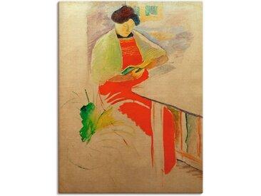 Artland Wandbild »Frau mit roter Schürze auf Balkon (Elisabeth)«, Frau (1 Stück), Leinwandbild