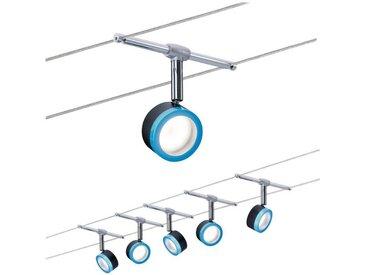 Paulmann LED Deckenleuchte »Seilsystem BlueLED 5x4W Schwarz/Blau/Chrom«, Seilsystem