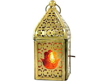 Guru-Shop Laterne »Orientalische Metall/Glas Laterne in..«, orange, orange-mehrfarbig