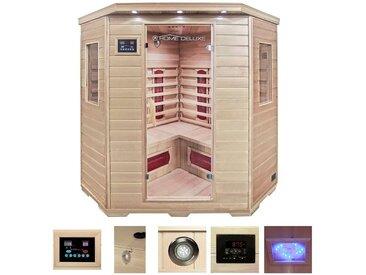 HOME DELUXE Infrarotkabine »Redsun XXL«, 150/150/190 cm, 40 mm, für bis zu 4 Personen, natur, natur