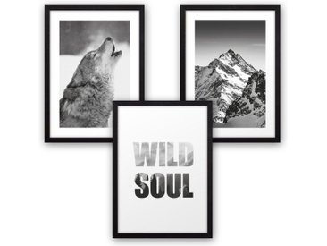 Kreative Feder Poster, Natur, Landschaft, Tier, Wolf, Berg, Wild, Wildnis, Fotografie, Schwarz-Weiß (Set, 3 Stück), 3-teiliges Poster-Set, Kunstdruck, Wandbild, wahlw. in DIN A4 / A3, 3-WP105